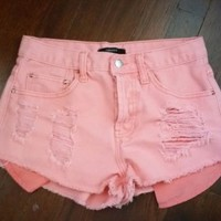 Forever 21 Waist Sz 25 Peach Orange Factory Destructed Denim Shorts Gently Used