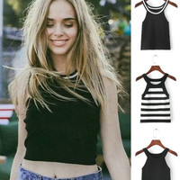 Stylish Beach Comfortable Summer Bralette Hot Sleeveless Knit Tops Sexy Crop Top High Rise Vest [4918706628]