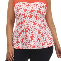 Flower Print Sheer Top - Coral - Plus Size - 1x - 2x - 3x