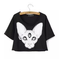 Sphynx Cat Print Crop Top