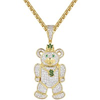 Men's Weed Money Teddy Bear  Pendant Chain