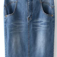 Light Blue Pencil Cut Denim Skirt