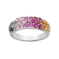 Lab-Created Sapphire Sterling Silver Ring (Stone/Silver/Sapphire)