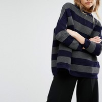 Paisie Oversized Ribbed Jumper In Stripes
