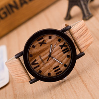 Simulation Wooden Quartz Men Watches Casual Wooden Color Leather Strap Watch Wood Unisex Wristwatch Relojes Relogio Masculino