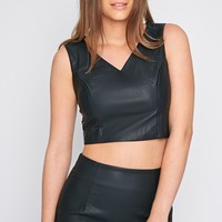Shary Black Leather Crop - Crop Tops - PrettyLittleThing | PrettyLittleThing.com