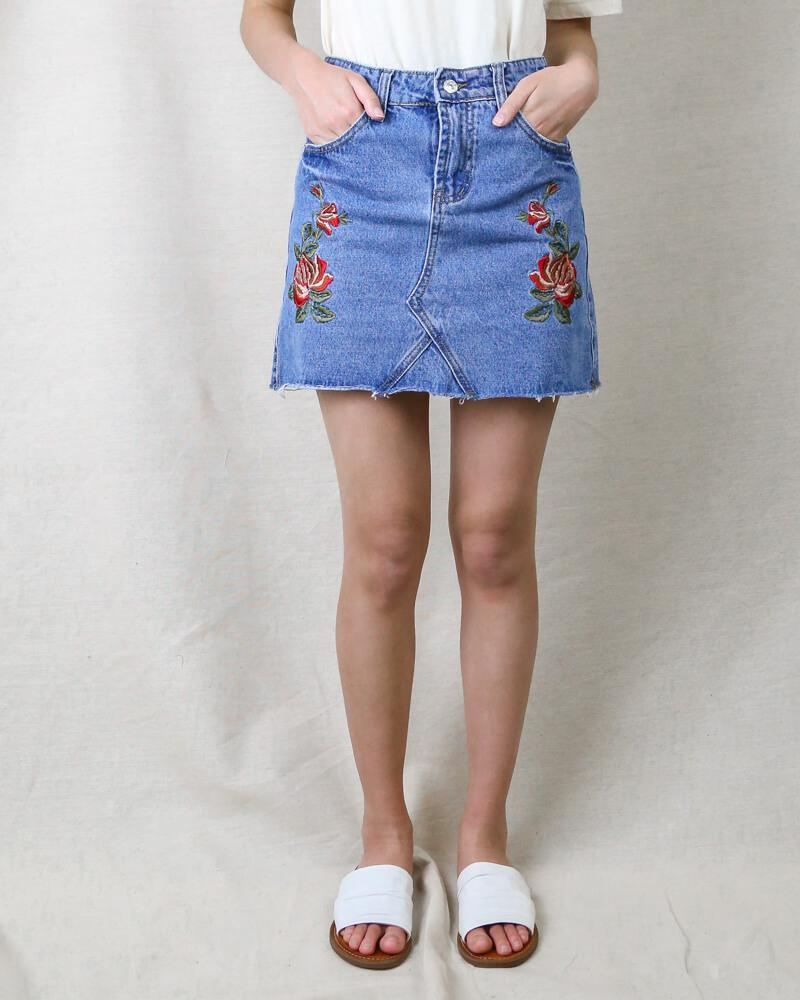 Image of Showstopper Embroidered Denim Skirt in More Colors