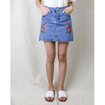 Showstopper Embroidered Denim Skirt in More Colors