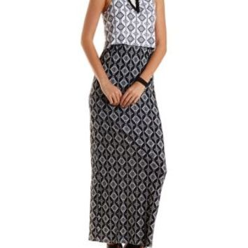 Black Combo Printed Color Block Maxi Dress by Charlotte Russe