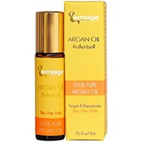 Argan Rosehip Rollerball - 100% Organic Cold Pressed Argan Oil & Rosehip Oil for Eyes, Wrinkles, Lips, Dry Skin, Age Spots. 33 fl oz. Anti-Aging Face Oil Serum in a Roll-on for glowing skin