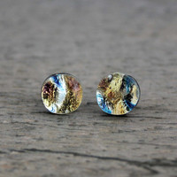 Sterling Silver Studs Gold and Blue Fused Dichroic Glass Stud Earrings, Fused Glass Jewelry, Dichroic Earrings, Dichroic Studs,