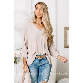 Believing It All Cross Front Top | Taupe