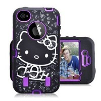 Hello Kitty 3 Piece Dual Layer Hybrid Defender Style Iphone 4/4s Case, COMBO with FREE Dust Plug Metallic Stylus Touch Pen (Purple)