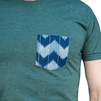 Green Heather with Blue Denim Wave Pocket Tee