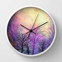 abstract trees Wall Clock by Sylvia Cook Photography