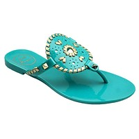 Georgica Jelly Sandal in Caribbean Blue and Gold by Jack Rogers
