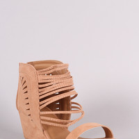Qupid Ankle Cage Wedge Sandal