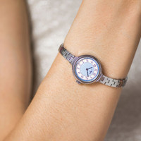 Light blue lady's wristwatch bracelet, round women's watch Ray, cocktail watch her, summer watch for woman