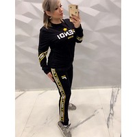 Fendi New fashion more letter print top and pants two piece suit black