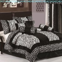 Chezmoi Collection 8-Piece Black and White Micro Fur Zebra with Giraffe Design Comforter 90-Inch by 92-Inch Bed-in-a-bag Set, Queen Size Bedding:Amazon:Home & Kitchen