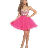 Hot Pink & Nude Beaded Strapless Short Dress 2015 Homecoming Dresses