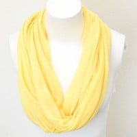 Knit Jersey Infinity Scarf, Yellow Infinity Scarfs, Knit Jersey Infinity Scarves Loop Scarves, Knit Jersey Scarf