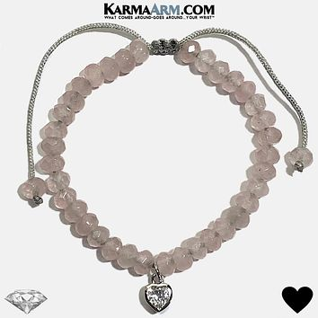 Heart Solitaire Charm | Rose Quartz | Adjustable Pull Tie Bracelet