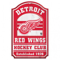 """Detroit Red Wings Wood Sign - 11""""x17"""" Hockey Club"""