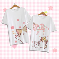 Harajuku Shirt Neko Atsume Anime Cartoon Japanese Kawaii Fashion