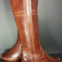 FRYE Tall Clogs Brown Vintage Leather Riding Women's Size 6