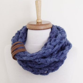Infinity Loop Braid Wool Scarf -Denim Blue-Winter accessories- Ready for shipping