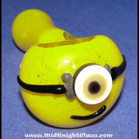 Minion From Despicable Me Spoon Style Glass Pipe Smoking Bowl Hand Blown by Jason Knight of MidKnightGlass