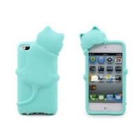 [Icase-mall] Baby Blue Lovely Kiki Cat Silicone Case Skin Cover for Apple iPod Touch iTouch 4th Generation 4G 4 with Earphone Anti Dust - Retail Packing Xmas Gift (multi)