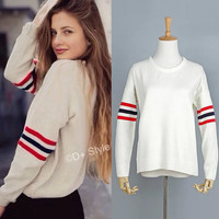 Winter Vintage 3-color Stripes Casual Pullover Knit Tops Sweater [6332338500]