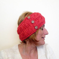 Knitted Headband, Collar, Ear Warmer, Head Warmer, Neck Warmer, Coral Red, Orange, Adorned With Coconut Shell Buttons, With Free Gift