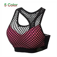 Breathable Mesh Sport Bra Top Women Hollow Out Cross Shockproof Push Up Yoga Bras For Fitness Running Gym Vest Top 2018 Newest