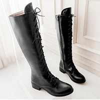 Lace Up Type Round Toe Fashion Over the Knee High Martin Women Boots Thigh High Knight Bootie Shoes