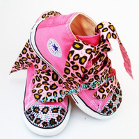 Baby Bling Infant Toddler BLUE LEOPARD Crystal Bling Chuck Taylor Pink Hi-Top Sneakers Shoes