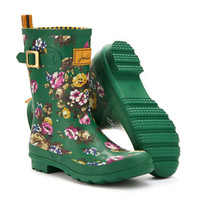 Green Floral Mollywelly Womens Mid Welly  | Joules UK