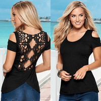 Sexy Slim Round-neck Short Sleeve Strapless Shirt Hollow Out T-shirts [4970289604]