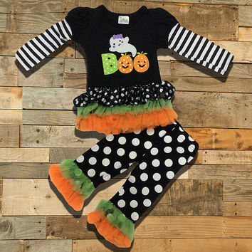 "Copy of Polka Dot Halloween ""BOO"" Ghost Ruffled Boutique Outfit"