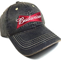 Brown Budweiser Wax Cloth Adjustable Velcro Hat