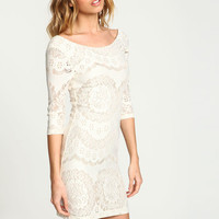 LACY KNIT SCOOPBACK BODYCON DRESS