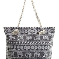 Elephant Canvas Beach Bag - 16.5-in (Grey)