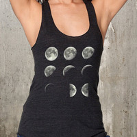 Women's Racer Back Tank - American Apparel - Phases of the Moon - Available in XS, S, M, L