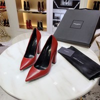 YSL Yves Saint Laurent  fashion female Stretch Knit leather Leather Zipper Ankle Short Boots Flats High Heels Shoes Winter Autumn red