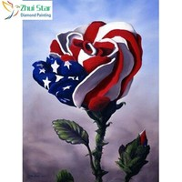 5D Diamond Painting American Flag Rose kit