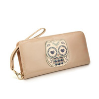 Tan Owl Wallet Clutch
