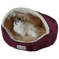 18-inch Burgundy & Beige Small Dog & Cat Bed by Armarkat