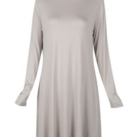 Gray High Neck Long Sleeve Plus Size Dress